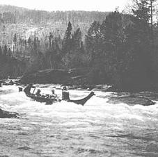 Canoe on Cowichan River 1920s?