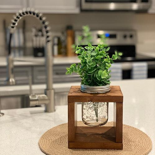 Square Mason Jar Table Centerpiece
