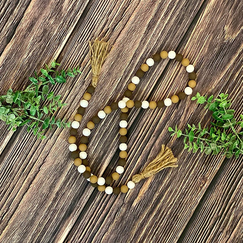 Coffee Themed Wooden Bead Garland