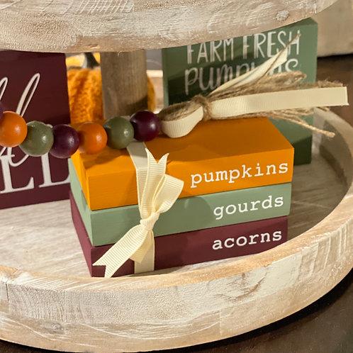 Fall Themed Mini Wooden Books