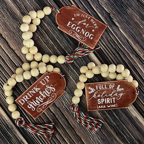 Christmas Looped Wooden Bead Garland