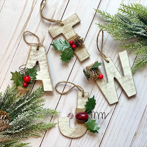 White Washed Rustic Christmas Ornament