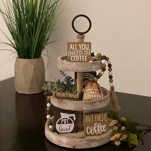 Coffee Themed Tier Tray Decor Bundle
