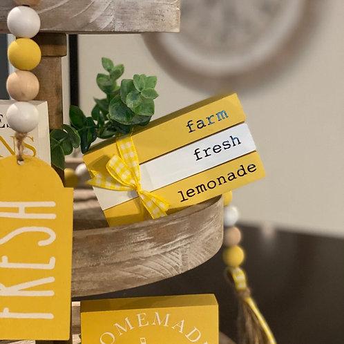 Lemon Themed Mini Wooden Books