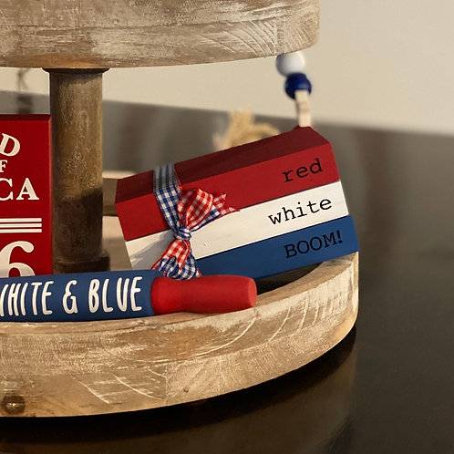 4th Of July Themed Mini Wooden Books