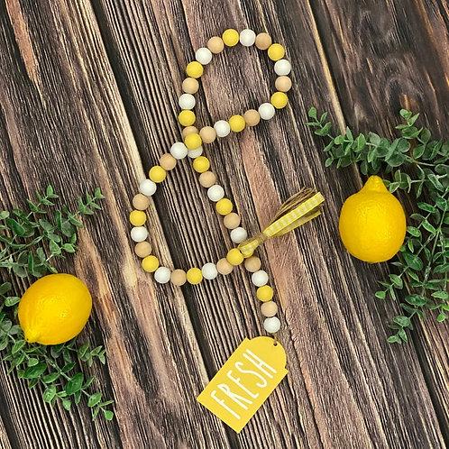 Lemon Themed Wooden Bead Garland