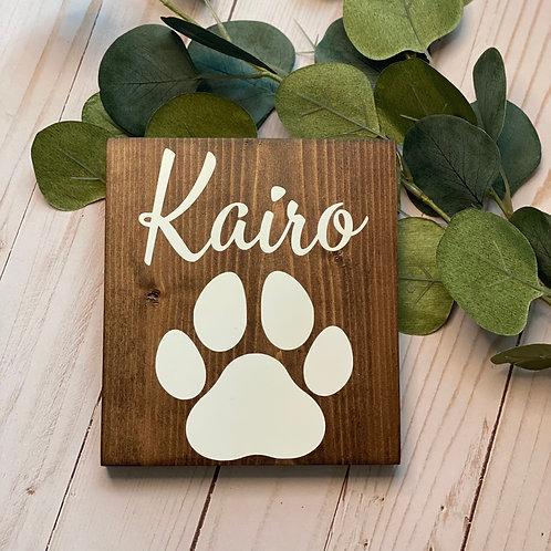 Pet Name & Paw Print Sign