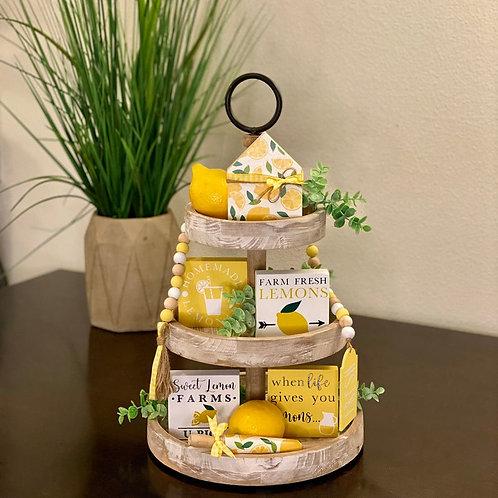Lemon Themed Tier Tray Decor Bundle