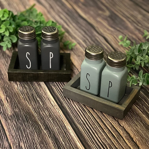 Salt & Pepper Shakers With Wooden Tray