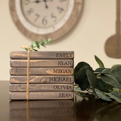 Hand Stamped Wooden Books