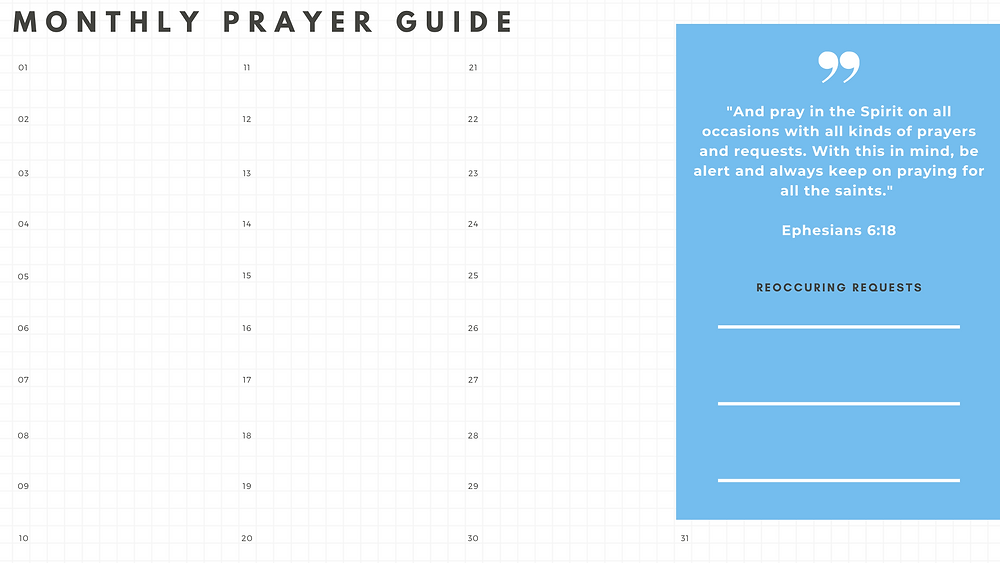 Monthly Prayer Guide, writing one prayer request per day