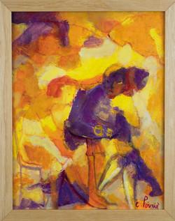Violet figure in cafe