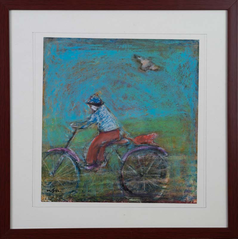 Bike Rider and Bird
