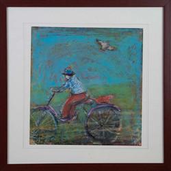 Bike Rider and Bird