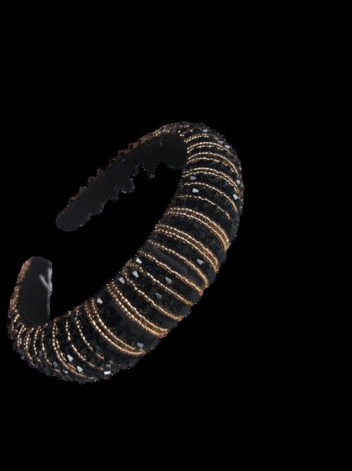 Black & Gold Beaded Headband