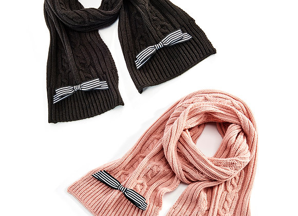 Cable Knit Scarf  - 2 Assorted Colors