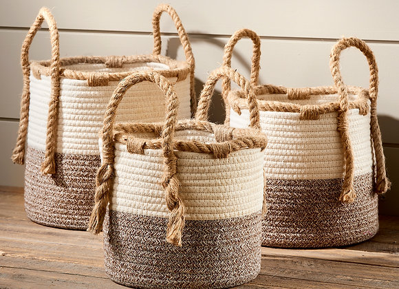 Woven Braided Baskets Set of 3