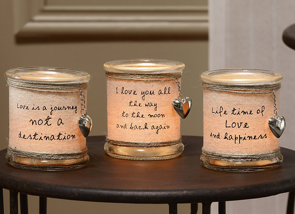 Glass & Burlap Candle Holders