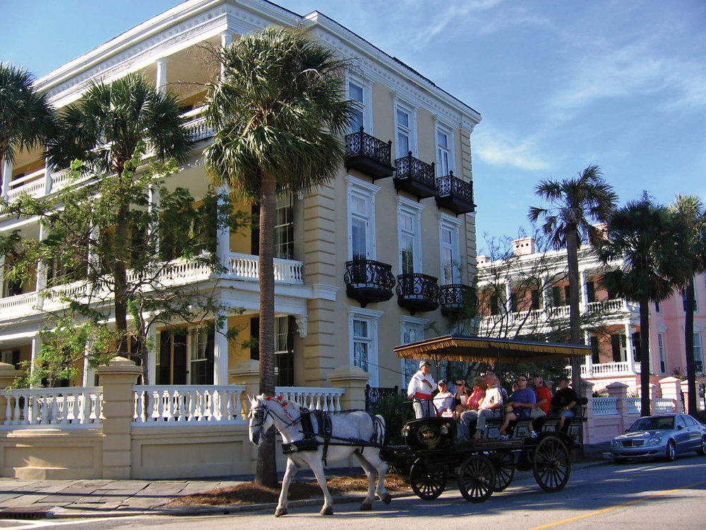 Historic Homes and Horse and Carriage in Downtown Charleston, South Carolina