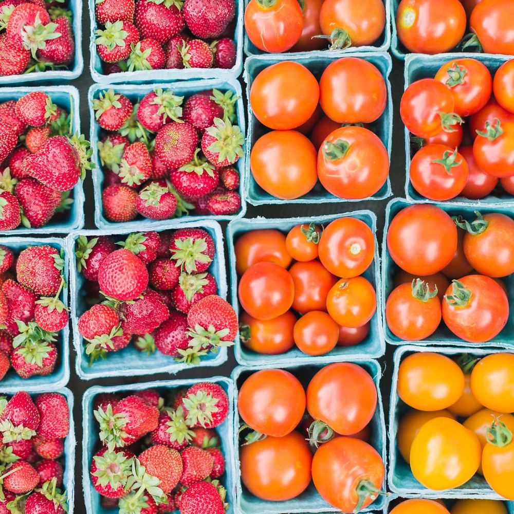 farmer's market produce strawberries and cherry tomatoes
