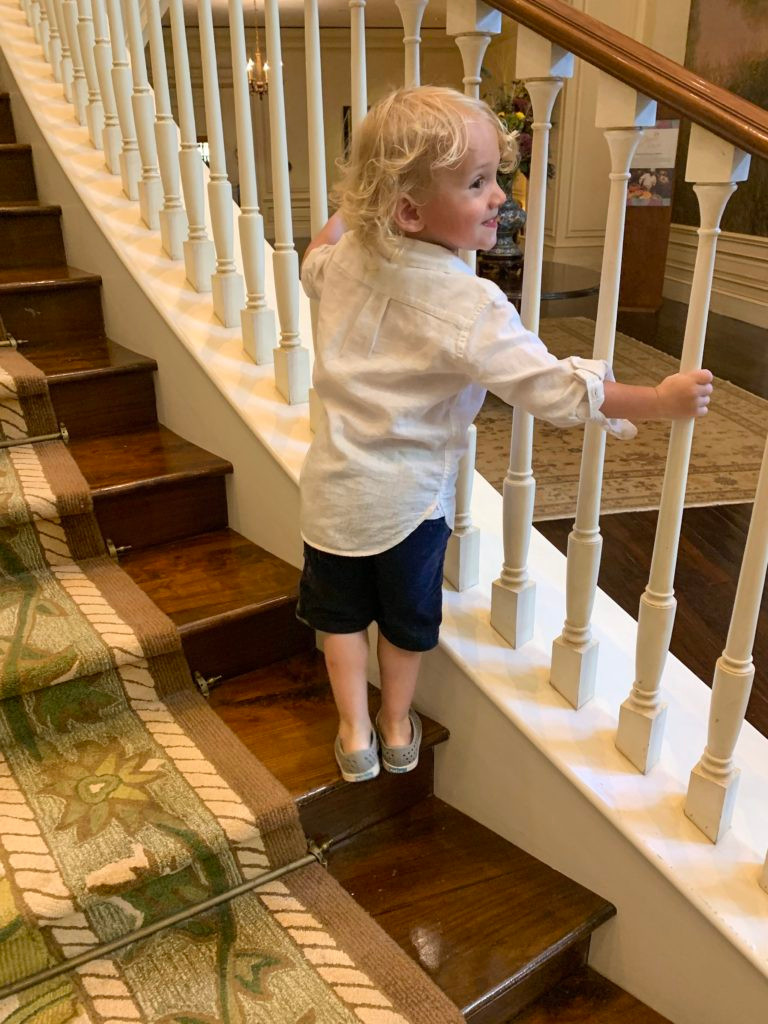 Arlo on the lobby stairs of The Sanctuary Hotel