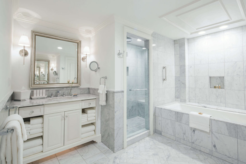 Marble bathroom at The Belmond Charleston Place  in historic downtown Charleston, South Carolina