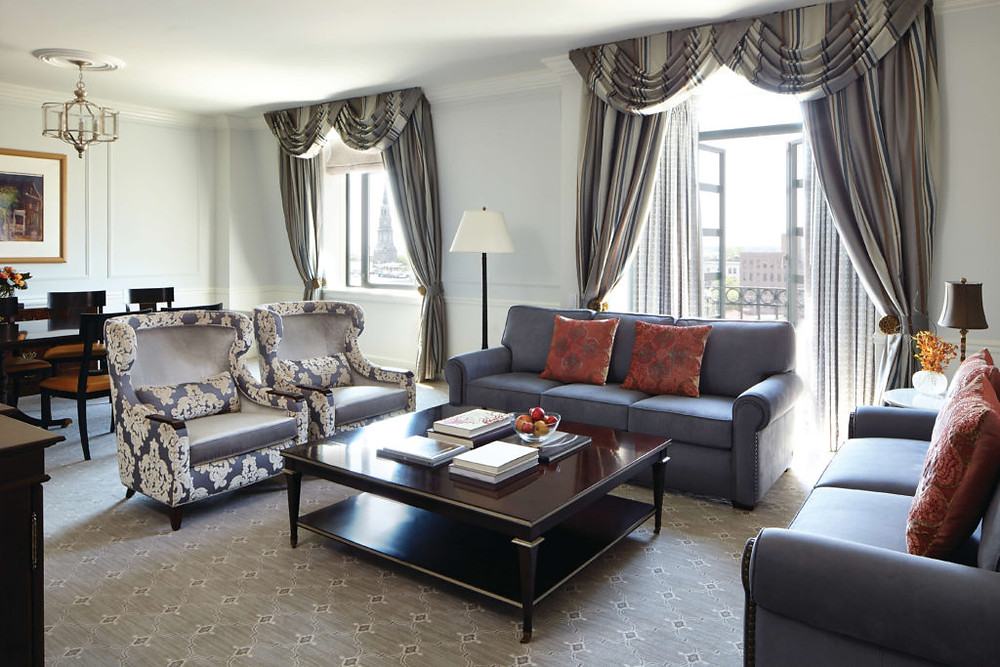 Suite with Juliet balcony at The Belmond Charleston Place  in historic downtown Charleston, South Carolina