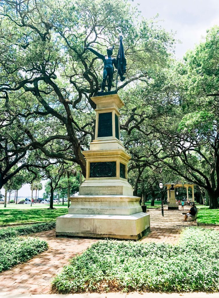 historic statue in White Point Garden aka Battery Park in Charleston, South Carolina