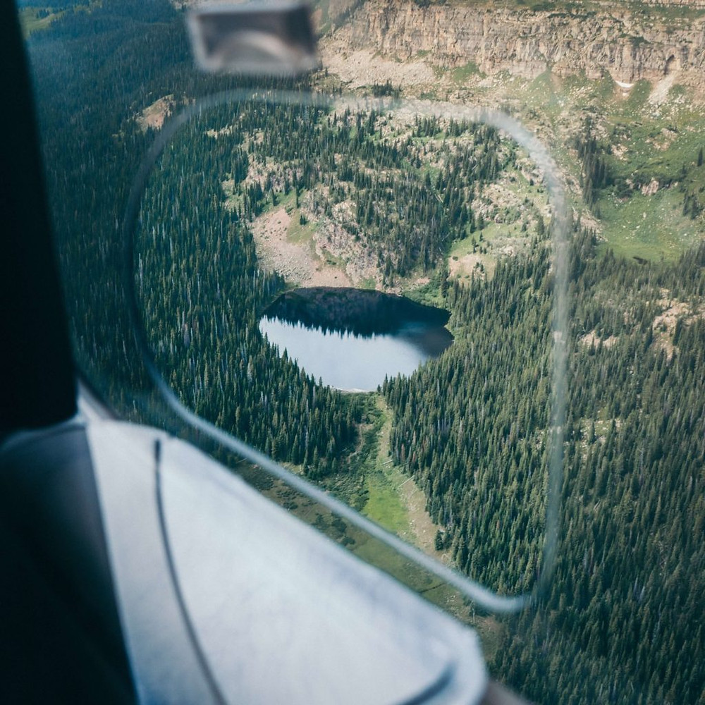 aerial lake view from helicopter