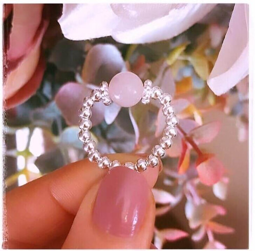 Semi Precious Rose Quartz Stretch Ring