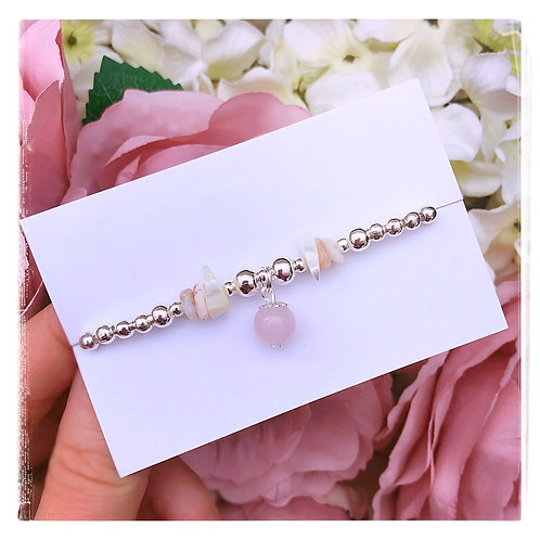 Rose Quartz, Mother of Pearl & Peruvian Opal Chip Bracelet