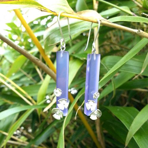 """Boucles d'oreilles """"coquelicots"""" violet"""