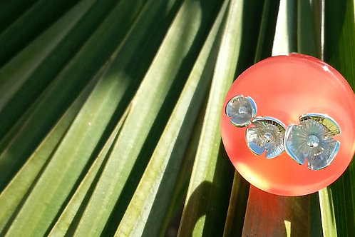 "Bague "" coquelicot "" rond corail ( T50 )"