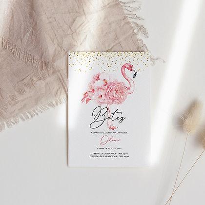 Invitatie botez  - flamingo