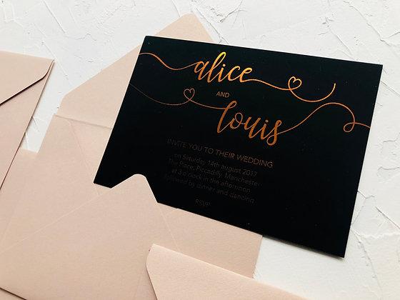 Invitatie neagra - folio rose gold