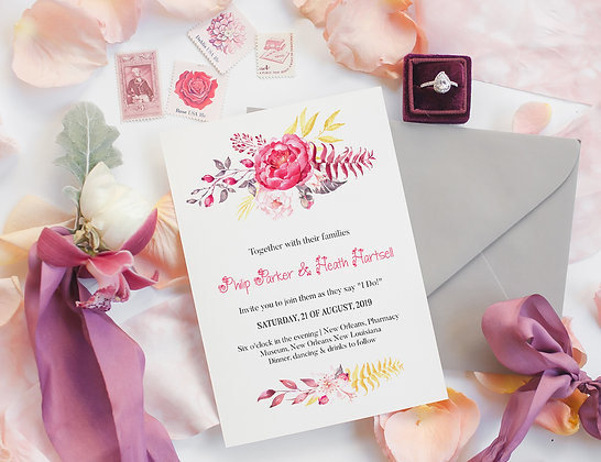 Invitatie pink and gold flower