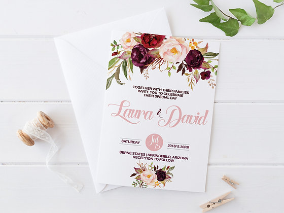 Invitatie watercolor flowers