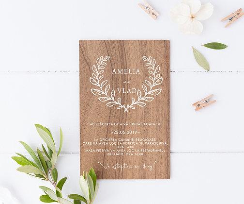 Invitatie pe lemn de nuc