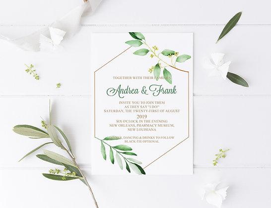 Invitatie greenery