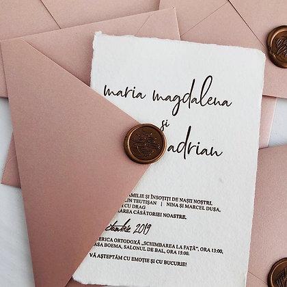 Invitatie hartie manuala - suita rose