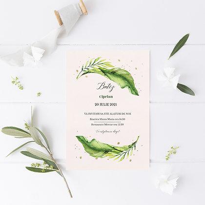 Invitatie botez  - green leafy