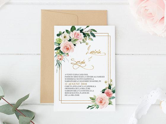 Invitatie ethereal flowers