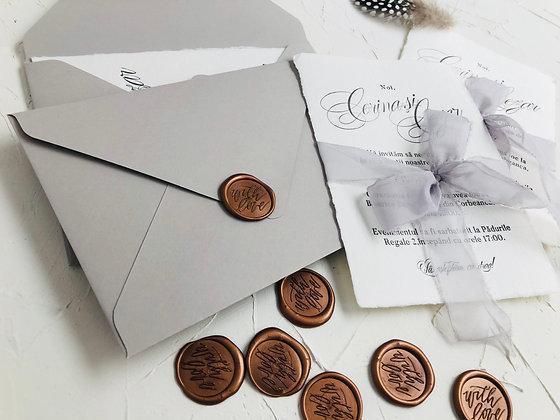 Invitatie hartie manuala - suita gri