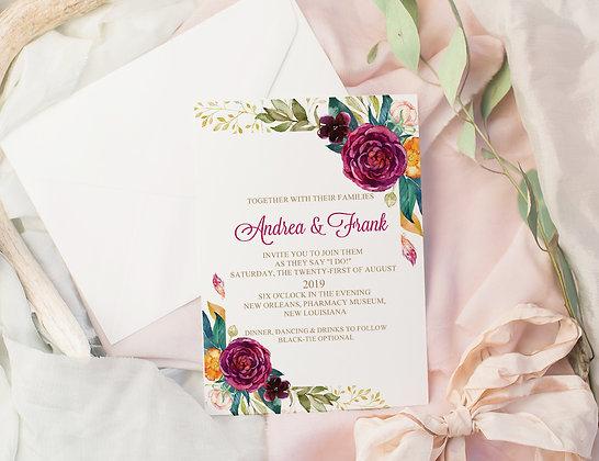 Invitatie floral plum