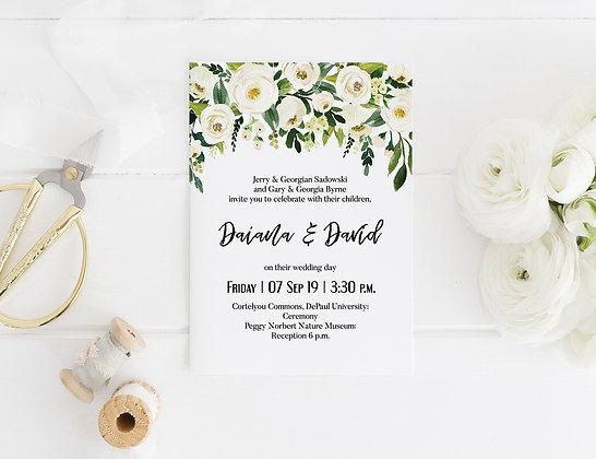 Invitatie white roses