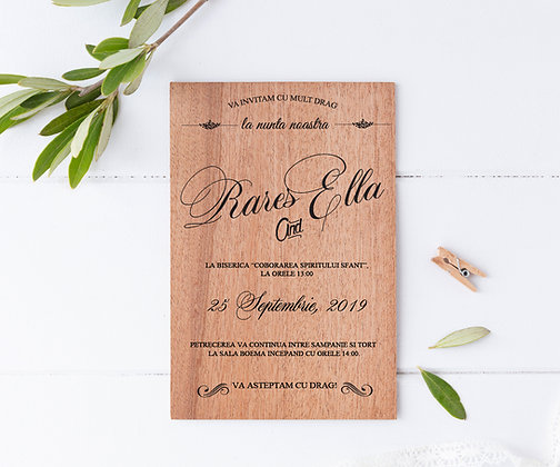 Invitatie pe lemn de mahon