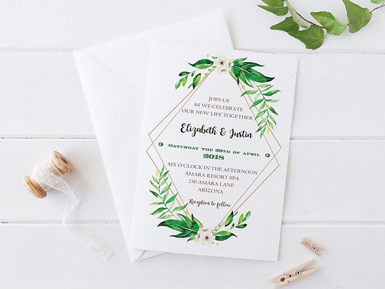 Invitatie green plants