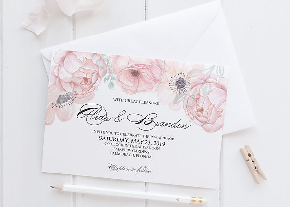 Invitatie pastel flower