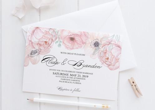 Invitatie Pastel Flower