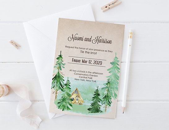 Invitatie forest theme